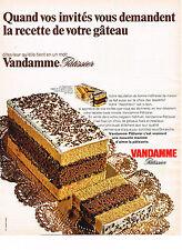 PUBLICITE ADVERTISING  1968   VANDAMME PATISSIER  gateaux