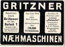 Maschinenfabrik Gritzner, Durlach Naehmaschinen Histor. Annonce 1907