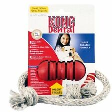 Dental Kong with Rope - Rubber Dog Puppy Chew Floss Play Fetch Tug Toy - Small