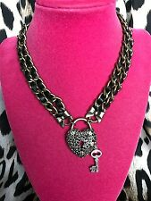 Betsey Johnson Vintage Bronze Hematite Gray Crystal Heart Lock Choker Necklace