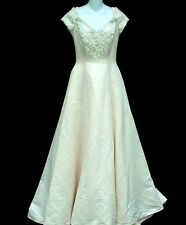 VINTAGE 90S SWEETHEART GOWNS SIZE 10 CREAMY BLUSH SATIN LACE PEARL WEDDING DRESS