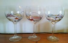 Set of 3 Multi-Colored Mosaic, Stained Glass Effect Wine Goblets, Gold Trim