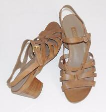 ECCO~COGNAC~SOFT PEBBLED LEATHER~STRAPPY~SLINGBACK SANDALS HEELS SHOES~39