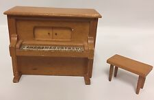 Vintage Piano Music Box With Seat Doll House Furniture Works