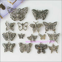 30Pcs Mixed Lots of Tibetan Silver Tone Butterfly Charms Pendants