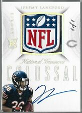 2015 National Treasures Colossal Jeremy Langford Auto NFL Logo Patch Rc # 1 of 1