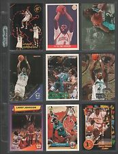 LARRY JOHNSON ~ Lot of (9) Different Basketball Cards w/ Display Sheet ~ (L118)