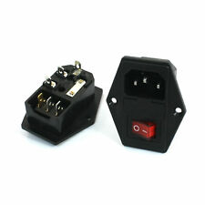 1pcs Panel Mount Fuse Holder IEC320 C14 Inlet Red Lamp SPST Switch Power Socket
