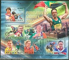 MOZAMBIQUE 2012  LONDON PARALYMPICS  CYCLING RUNNING TENNIS SHEET NH