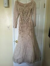 Champagne Beaded And Lace Long Sleep Gown Tull Sequin Dress