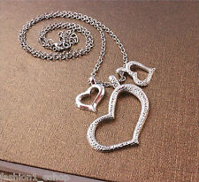 New Fashion Rhodium Finish Heart Pendant  Necklace for girl & women