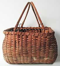 Antique Woven Ash GATHERING BASKET w/ Bentwood Handles