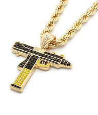 "Mens Gold Black/Yellow Gun Uzi Pendant Hip-Hop 30"" Inch Rope Necklace Chain"