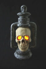 Light-Up SKULL LANTERN LAMP Halloween Gothic Graveyard Haunted Prop Decoration