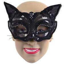BLACK CAT SEQUIN EYE MASK WITH EARS HALLOWEEN FEMALE PARTY MASK
