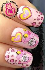 NAIL ART WATER TRANSFERS/STICKER/DECALS PINK PANTHER FACE/PINK LEOPARD PRINT #58