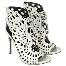White Peep toe Sandal Lace up Heels Party Butterfly Women shoes Giana US sz.8.5