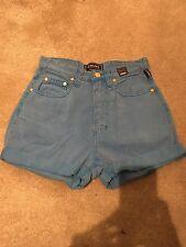 Versace con cintura alta pantalones cortos, Denim, Talla 6, azul brillante, cabeza de Medusa. Vintage.