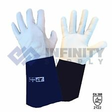 "TIG Welding Gloves Goatskin Full Grain Leather TIG Welders Gauntlet 14"" Kevlar"