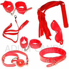 Sex Toy Luxury Bondage Adult Sex Kit Handcuffs Cuffs Ball Ropes Blindfold RED UK