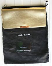 Dolce & Gabbana Leather Gold Metallic Clutch Handbag Purse Satin Interior NWOT