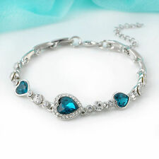 Fashion Charm Women Ocean Heart Blue Crystal Rhinestone Bangle Bracelet For Gift