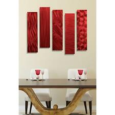 Set of 5 - Red Abstract Metal Wall Art Sculpture Decor Accents by Jon Allen