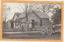 Real Photo Postcard RPPC Carpenter Building House Old Car IN License Plates 1914