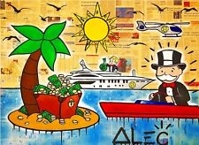 Alec Monopoly Bansky Oil Painting on Canvas Abstract Graffiti art Island 12x16""