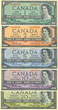 Bank of Canada 1954 Year Type Set $1 $2 $5 $10 $20 Average VF+ or Better