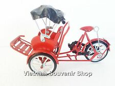 Handmade Model Tricycle Pedicab -Red color -Vietnam Traditional Transportation
