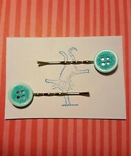Handmade set of two light blue turquoise glitter button bobby pin hair clips