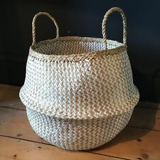 X Large White Natural Seagrass Belly Basket Zig Zag Straw Planter Laundry Basket