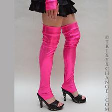 1019 Pink Shiny Leg Warmers Leggings Covers Blacklight Glow LED UV Club Cosplay