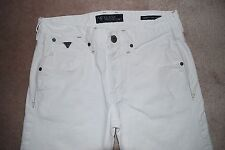 WHITE GUESS MEN'S PREMIUM $169 VERMONT SLIM TAPERED LOW RISE BUTTON FLY JEANS