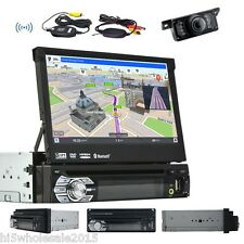 "1 Din GPS Navi 7"" Car DVD Player In Dash FM Receiver Bluetooth Audio Stereo+CAM"