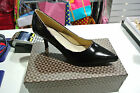 WOMEN LADIES LOW MID HEEL PUMPS POINTED TOE COURT WORK OFFICE SHOES PATENT BLACK