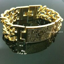 New Stainless Steel Gold Plated Cowboy Chain Cross Scriptures Tag Men's Bracelet