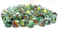 "Glass MARBLES ¾"" Lot of 70+ Catseye Blue Red White w/ Slight Variations & Size"