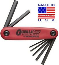 Bondhus Gorilla Grip Hex Fold Up Wrench Set Metric MM 2-8mm MADE IN USA 12587