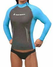 Aqua Sphere Womens Long Sleeve Wet Suit, Rash Guard Shirt Grey/Turquose: MED NWT