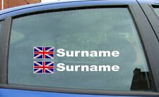 Rally Race Surname Window Names Tag Union Jack England Flag 4 Stickers Decals d4