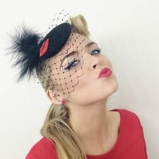 VINTAGE BLACK FEATHER 50's RED LIPS HEADPIECE HAT FASCINATOR BURLESQUE ASCOT