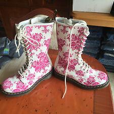 Dr Martens 1B99 White pink  Floral flock boots UK 4 EU 37 .