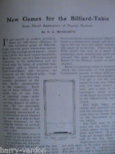 Billiard Table Games Billiards Sam Mussabini Rare Old Antique Article 1910