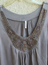 Olivia Moon Taupe  Beaded  Top   Irridescent Beads @ Neckline   M