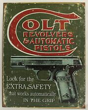 COLT REVOLVERS & AUTOMATIC PISTOLS METAL SIGN Gun Firearms NEW Repro Vintage
