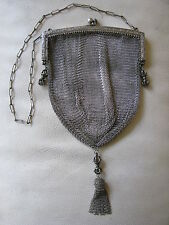 Antique Victorian Art Nouveau Deco German Silver Cage Ball Tassel Mesh Purse