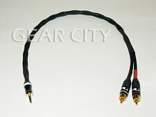 "chf1r 0.5m 20"" Headphone 3.5mm Stereo Jack to RCA Aux Silver Cable iPhone Plug"