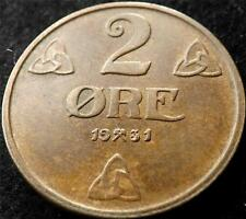 1931 NORWAY 2 ORE COIN HIGHER GRADE